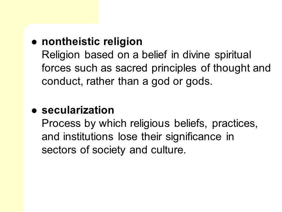 Non theistic religions
