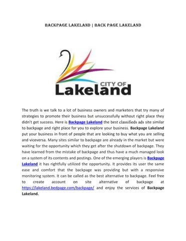 Lakeland backpages
