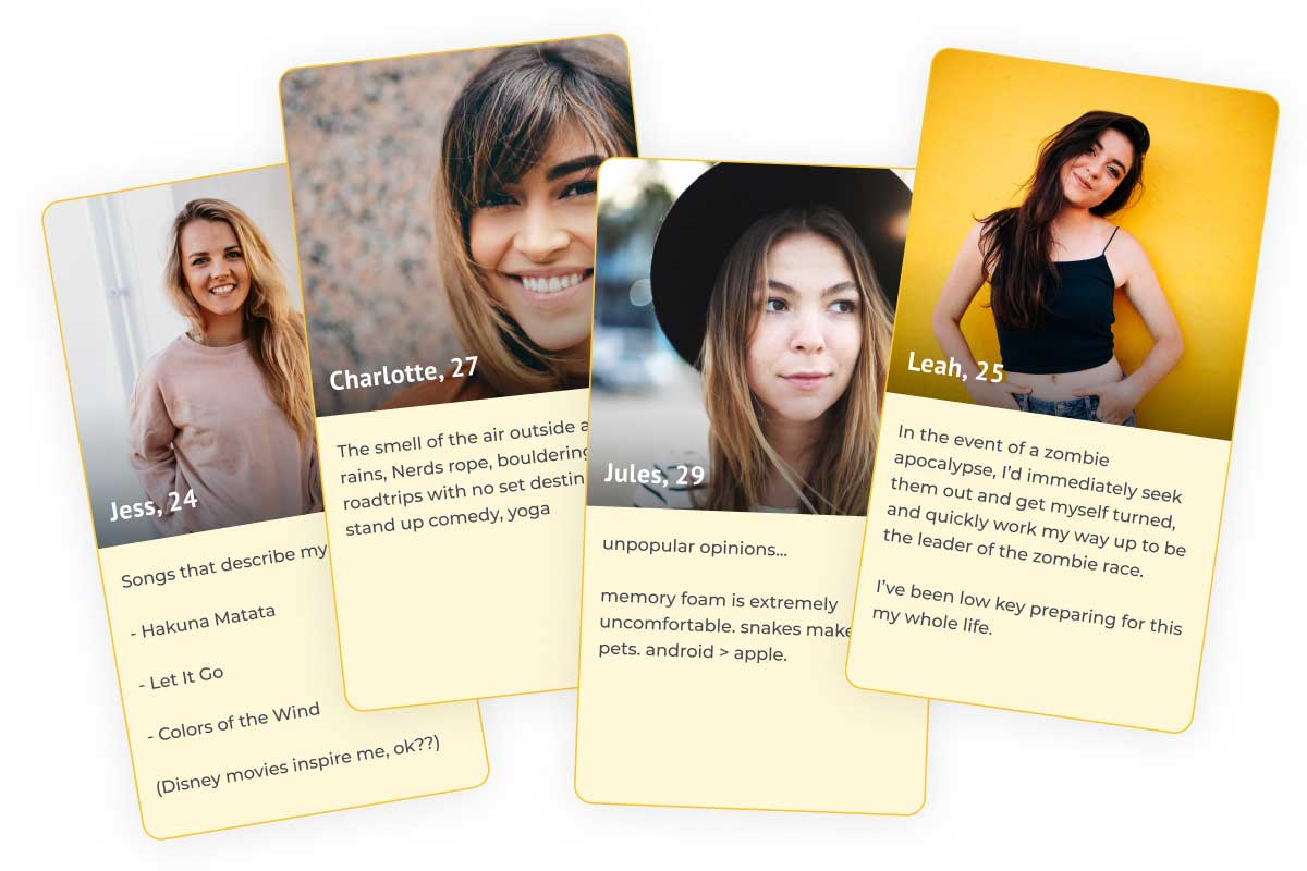Examples of bumble profiles. Examples of bumble profiles.